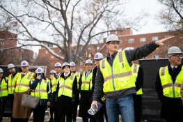 The University of St. Thomas' board of trustees, campus ministry, take a tour of the Iverson Center for Faith construction project. Liam Doyle/University of St. Thomas