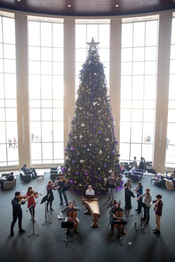 Members of the St. Thomas String Ensemble perform in the Anderson Student Center. Mark Brown/University of St. Thomas