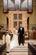 The wedding of Anthony (Tony) Eicher and Annie Dupslaff (both St. Thomas graduates) at the chapel of St. Thomas Aquinas in St. Paul on March 17, 2020. The couple chose to get married at St. Thomas with only Annie's parents in attendance after their original plans were disrupted by the coronavirus pandemic.