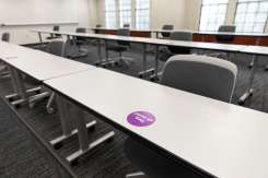 A classroom in Murray Herrick Campus Center is set up for social distancing with space between seats. Mark Brown/University of St. Thomas