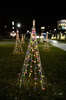 Holiday lights glow on the upper quad.