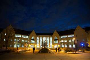 The Anderson Student Center glows at dusk. Mark Brown/University of St. Thomas