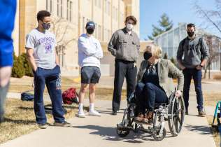 Dr. Jennifer Holte speaks to her engineering students about empathic design and how to improve the functions of manual wheelchairs. Liam James Doyle/University of St. Thomas