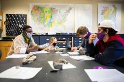 Students work in groups during professor Sarah Feiner's geology lab in O'Shaughnessy Science Hall. Liam James Doyle/University of St. Thomas