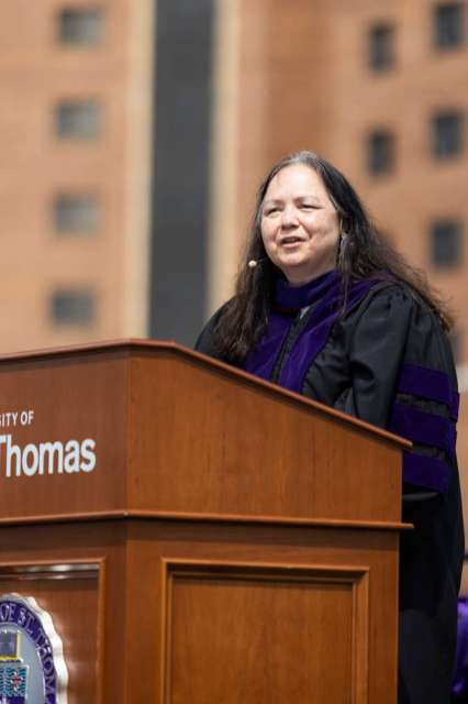 Federal Defender Katherian Roe gives he Keynote Address during the School of Law 2021 Commencement Ceremony. Mark Brown/University of St. Thomas