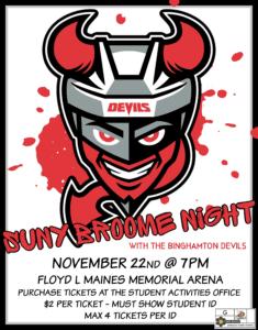 SUNY Broome Night with the Binghamton Devils on Nov. 22
