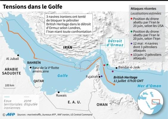 Carte des récentes tensions dans le Golfe