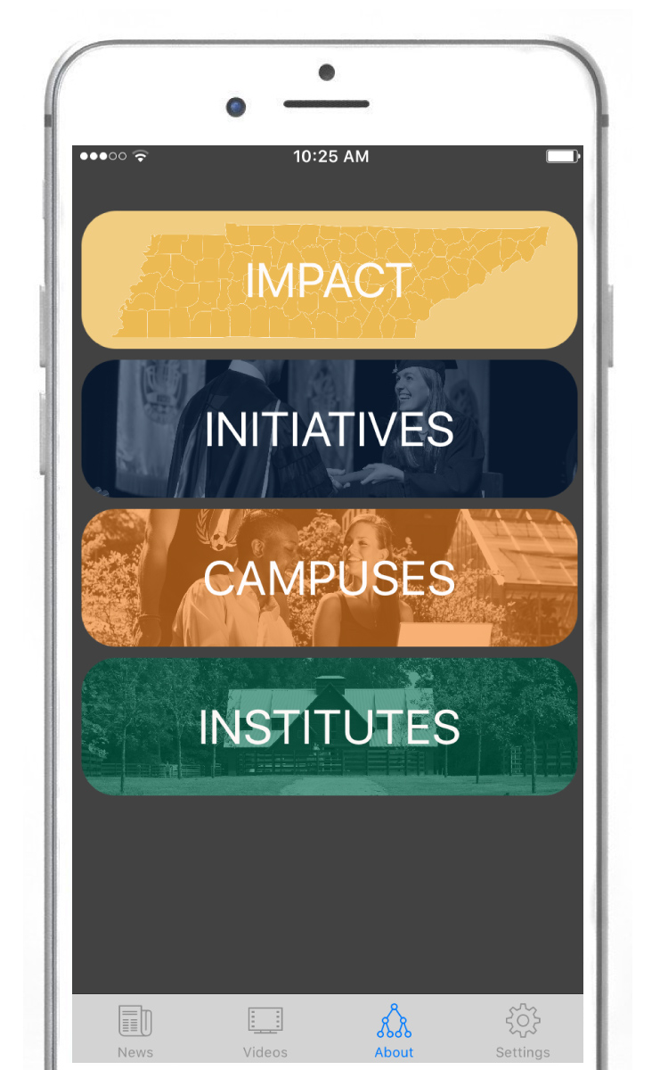 iPhone screen with buttons labeled IMPACT, INITIATIVES, CAMPUSES, INSTITUTES