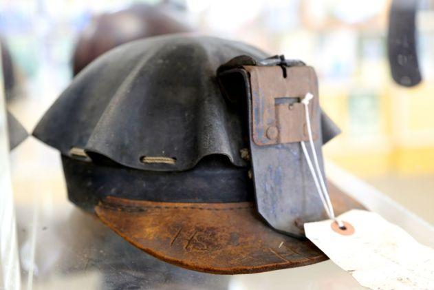 Leather mining helmet