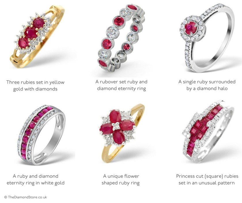 Ruby rings for 40th wedding anniversary - unusual ring designs