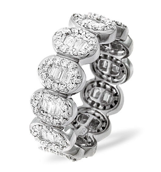 Diamond eternity ring in platinum with baguette cut diamonds from TheDiamondStore UK