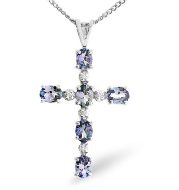 Tanzanite Cross Pendant Gold