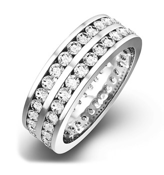 Mens 2CT H/SI Diamond 18K White Gold Full Band Ring