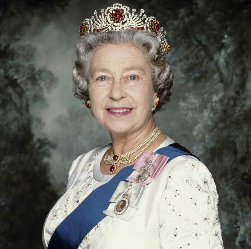 Queen Elizabeth II wearing her rubies