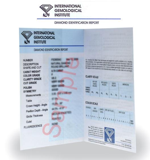 An IGI diamond certificate