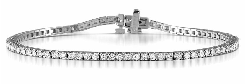 Chloe 18K White Gold Diamond Tennis Bracelet 2.00CT H SI Item FDT23 4JUY