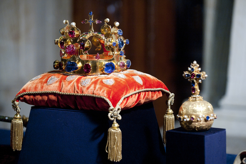 Bohemian crown jewels with large pink ruby via yakub88 / Shutterstock.com