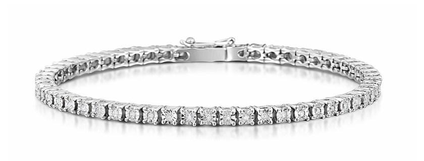 Silver Diamond Set 0.57CT Tennis Bracelet Item UD3226