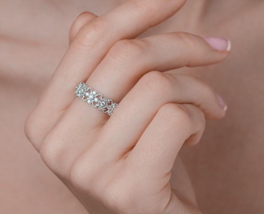 Meaning of Eternity Rings - Diamond Eternity Ring Trellis 0.42ct set in 18K White Gold N4520 Item N4520