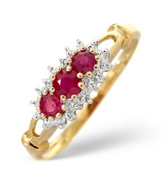 Ruby and diamond 3-stone ring for 40th anniversary