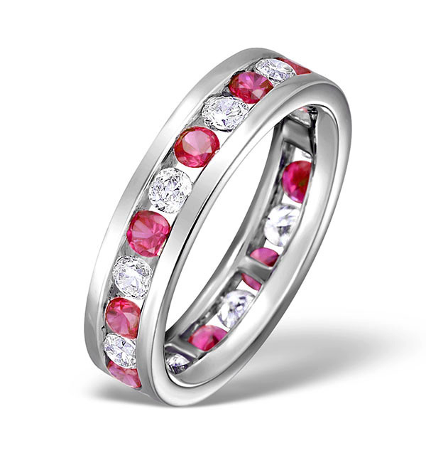 Ruby and diamond eternity ring in white gold from TheDiamondStore.co.uk