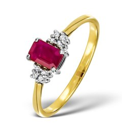 Ring with an emerald-cut ruby and diamonds for a 40th anniversary
