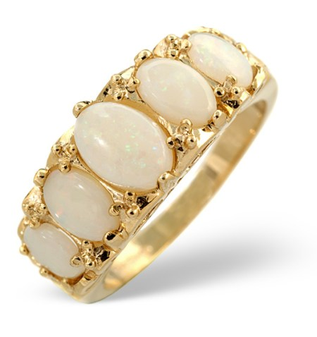 Opal 5-stone half eternity ring in yellow gold