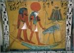 Egyptian painting depicting the sun god Ra