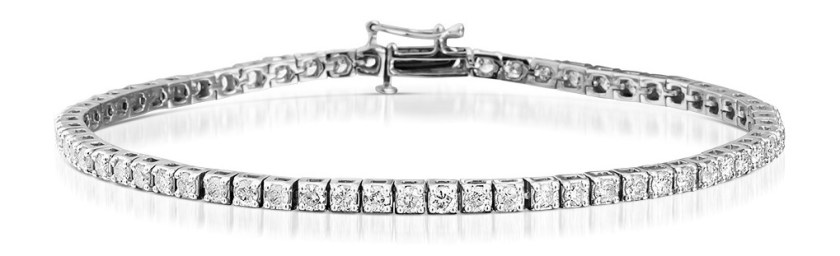 Tennis bracelet with diamonds and silver