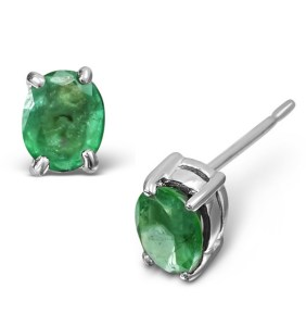 Emerald stud earrings white gold