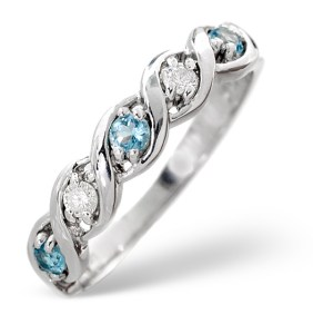 0.18CT Blue Topaz and Diamond Ring in White Gold