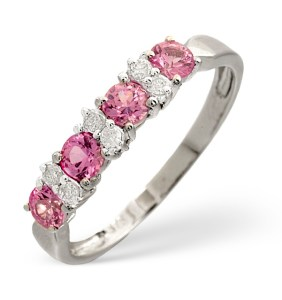 Pink sapphire ring with diamonds and white gold