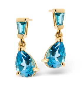 1.74CT Blue Topaz Earrings in Yellow Gold