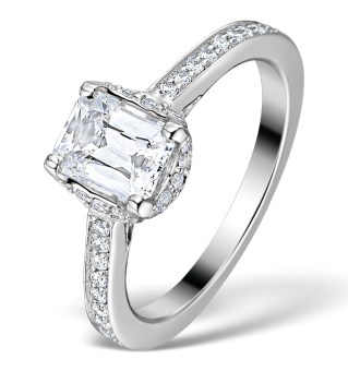 Prince Cut Sidestone Ring 1.35CT Diamonds