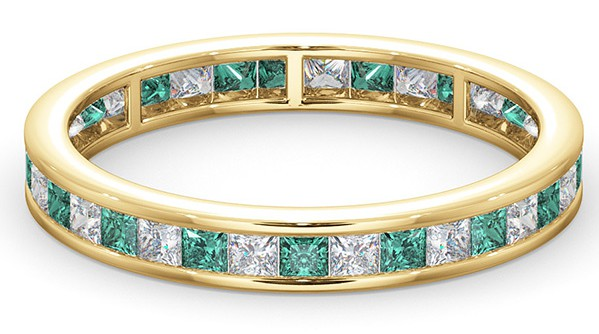 Emerald and diamond eternity ring in 18K yellow gold