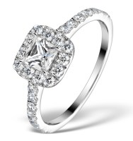 11 Grace Gealey style halo engagement ring with princess cut solitaire