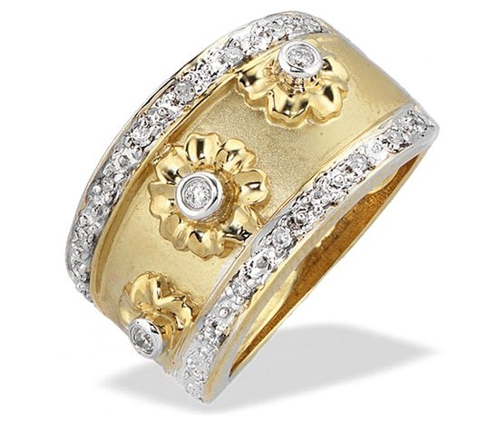 Ornate Vintage Diamond and Gold Flower Design Ring with Relief Work in yellow Gold and Round Cut Diamonds in a Rubover Setting