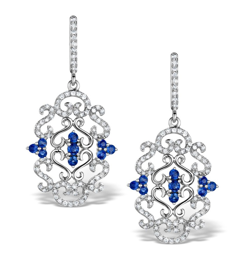 Vintage Style Renaissance inspired Sapphire Earrings in White Gold