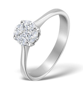 Diamond Engagment Ring with 1-carat look made with 0.38CT diamonds