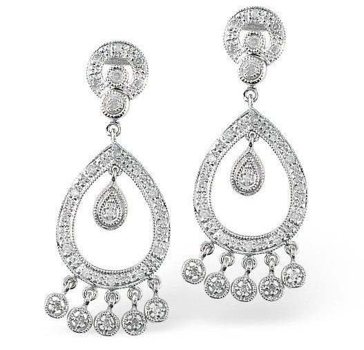 Vintage Georgian era inspired Chandelier Earrings with 0.33 carats of diamond in white gold