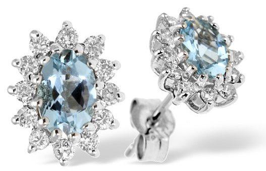Aquamarine and diamond earrings from TheDiamondStore UK