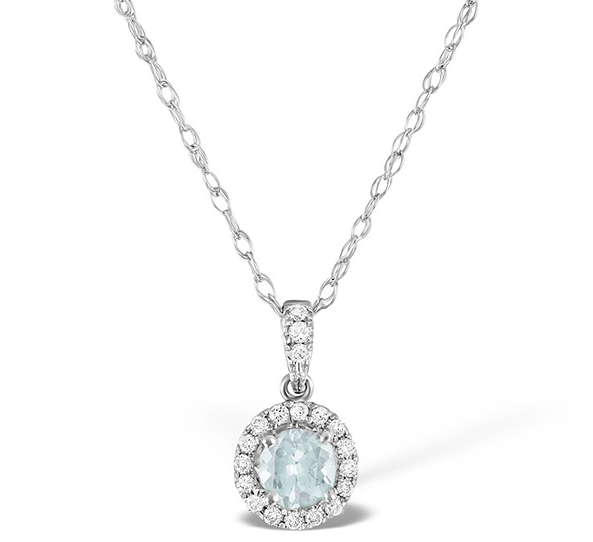 Aquamarine pendant necklace in white gold with diamonds from TheDiamondStore UK