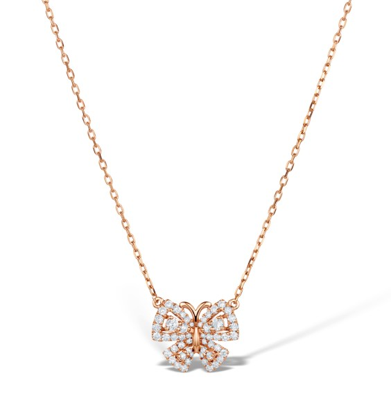 Vivara Collection 0.42ct diamond 9K Rose Gold Butterfly Necklace