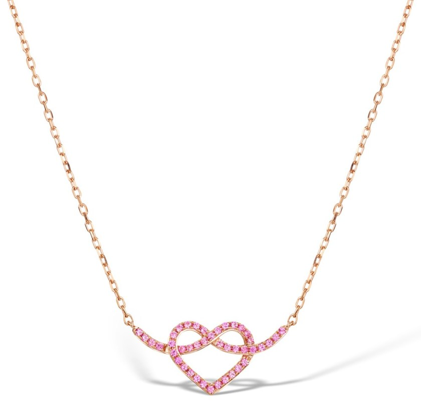 Heart necklace pink sapphires on rose gold - Vivara Collection by TheDiamondStore UK