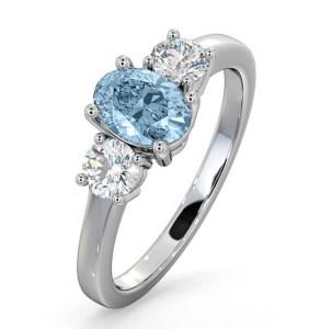 Aquamarine 0.70ct and Diamond 0.50ct 18K White Gold Ring