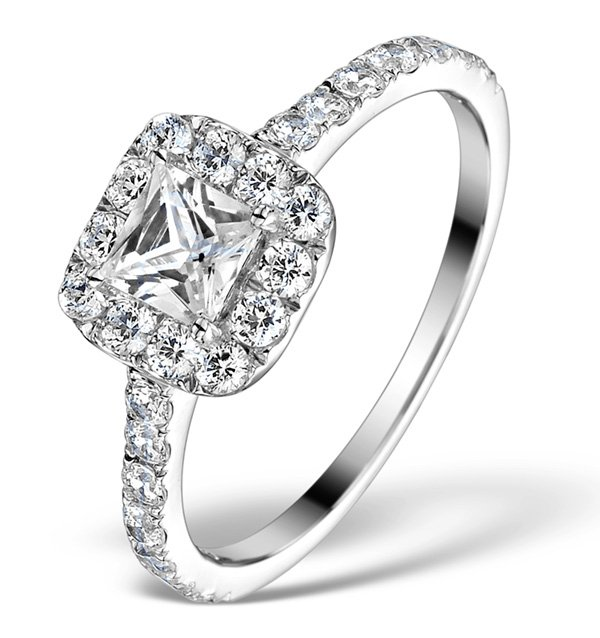 Grace Gealy style engagement ring with diamond halo and princess solitaire