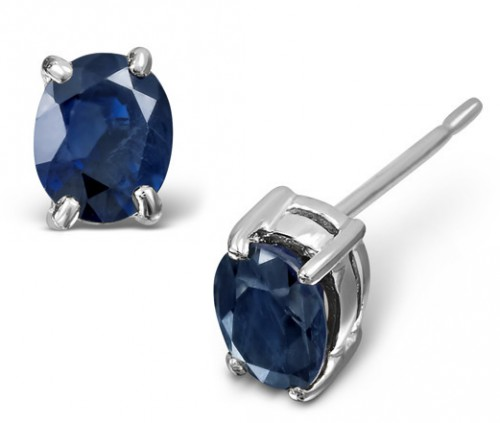 Sapphire 5mm x 4mm 9K White Gold Stud Earrings