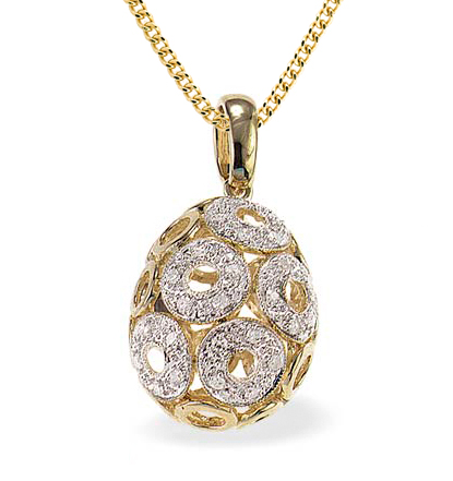Gold and Diamond egg pendant necklace - Easter egg jewellery