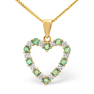 Emerald and diamond heart pendant necklace UK