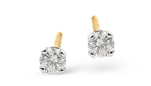 DIAMOND EARRINGS 0.10CT STUDS DIAMOND 9K GOLD - Graduation Gifts